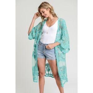 Sweaters - Long Lace Kimono Cardigan in Sea Glass Green New